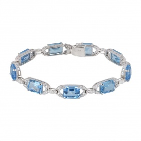 White Gold Diamond & Topaz Bracelet